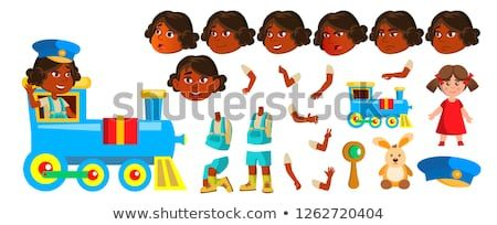 Indian Girl Kindergarten Kid Vector  Animation Creation Set