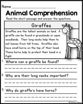 Animal Reading Comprehension Passages Reading Comprehension