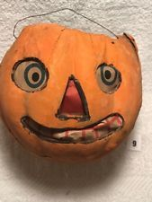 Antique German Halloween Paper Mache Pumpkin Jack O Lantern Circa 1920 S 1930 S Vintage Halloween Primitive Halloween Halloween Paper
