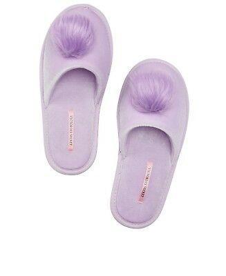 NWT Victoria/'s Secret Velvet Slipper Pink Faux Fur Trim Women/'s Size Large 9//10