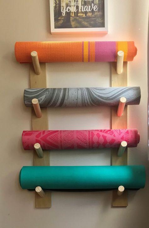 Basic yoga mat rack handcrafted yoga decor workout organizer yoga mat holder yoga accessories gifts for woman yoga mat wall holder poses de yoga pour travailler les fessiers Yoga Studio Design, Yoga Room Design, Yoga Studio Home, Yoga Studio Decor, Yoga Studio Interior, Gym Interior, Pilates Studio, Interior Design, Home Yoga Room