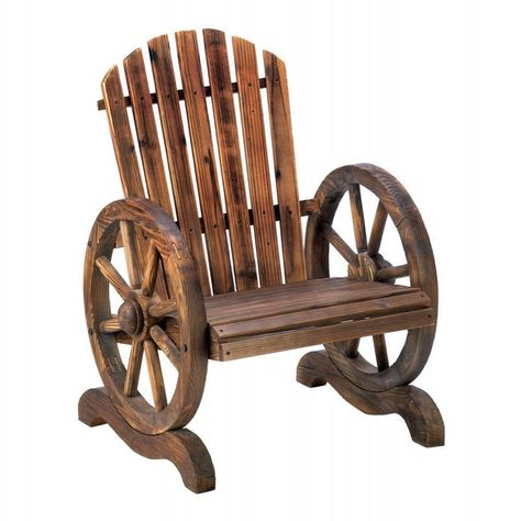 Western Rustic Country Wood Wagon Wheel Chair Outdoor Patio