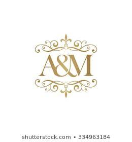 A M Initial Logo Ornament Ampersand Monogram Logo Gold Wedding