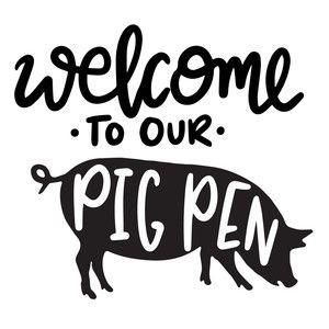 47+ Pig pen black and white clipart info