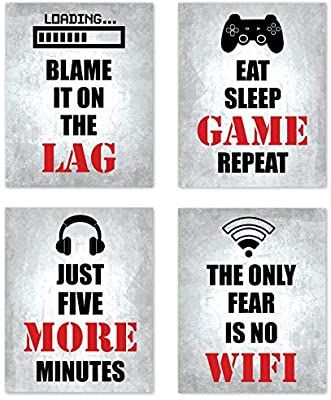 Just five more minutes 8x10 You can/'t just pause a game Can I just finish this game DIGITAL ART Gaming Printable Wall Art Set