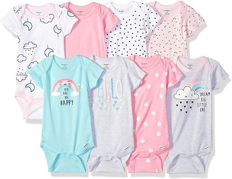 Gerber Baby Girls 8-Pack Short-Sleeve Onesies Bodysuit