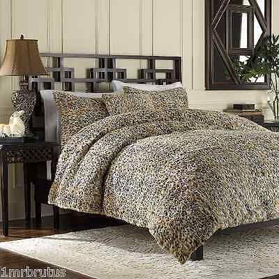 3 Pc Luxury Faux Fur Leopard Full Queen Duvet Cover Set Animal Print Cheetah Tan Duvet Cover Sets Duvet Covers Queen Duvet Covers