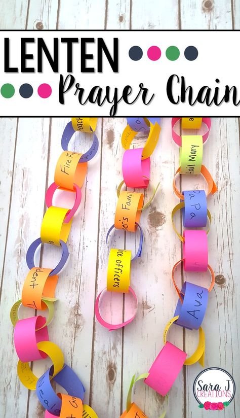 Lenten prayer chain to help kids countdown the days of lent but also build their prayer life day crafts for kids jesus Lenten Prayer Chain