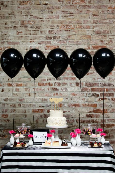 Black, white, and pink dessert display. Confetti Co. Weddings.  love these black balloons!