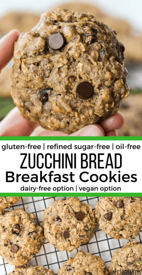 Zucchini Bread Breakfast Cookies (gluten-free, refined sugar-free, oil-free, dairy-free option, vegan option) - Mile High Mitts - Eat healthy cookies for breakfast with these Zucchini Bread Breakfast Cookies! Gluten Free Zucchini Bread, Gluten Free Baking, Vegan Zucchini, Sugar Free Zucchini Cookies, Gluten Free Sugar Free Bread Recipe, Healthy Zucchini Cookies, Gluten And Dairy Free Kids, Healthy Breakfast Cookies, Dairy Free Recipes Healthy