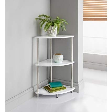 A2z Home Solutions White High Gloss 3 Tier Corner Rack Shelf Storage Shelves Bookcase Plant Flower S Corner Storage Shelves Corner Storage Stainless Steel Legs