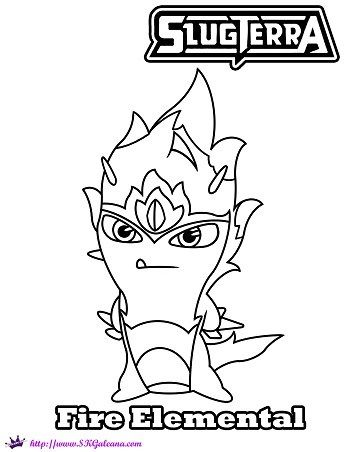 Fire Elemental Slug Coloring Page From Slugterra Coloring Pages