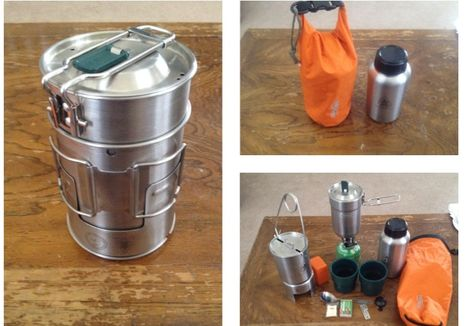 Compact & versatile cook kit. Lots capabilities in a minimal package. Stanley Cook Set with Pathfinder Gen. 3 Bottle kit. All fits into a 2.5L Sealine Drybag, which can also be used to hold water. Entire kit includes: can opener, matches, TinderQuick, titanium spork, compact propane stove, propane canister, Pathfinder Gen. 3 Bottle Kit (mouth spreader/bail, lid, cup, stove, bottle), Stanley Cook Set (two cups, pot/cup, lid), 2.5L Drybag.