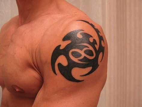 Cancer Zodiac Sign Tattoos: Great Tribal Style Cancer Tattoo On Shoulder ~ tattoosartdesigns.com Zodiac Tattoo Inspiration