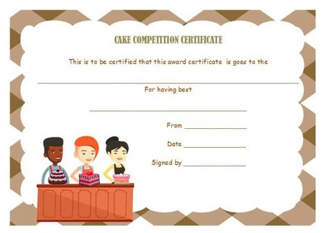 Cake Competition Certificates Cake Competition Certificate Templates Competition