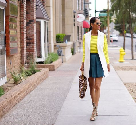 Styled sports wear for spring. neon yellow sweater and white vest fabfound at Marshalls. transition style, spring layers, spring style