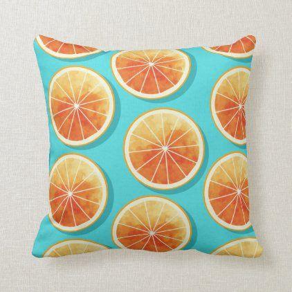 Orange Slices On Blue Throw Pillow Zazzle Com Blue Throw Pillows Throw Pillows Blue Throws