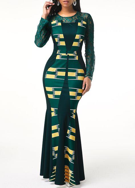 Lace Patchwork Tribal Print Long Sleeve Maxi Dress | Rotita.com - USD $35.29