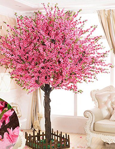 Vicwin One Gorgeous Artificial Cherry Blossom Trees Pink Fake Sakura Flower Indoor Outdoor Home Office 4ft Tall 1 2m Artificial Cherry Blossom Tree Indoor Flowers Blossom Trees