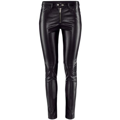 0c7f4f0f4ed24 H&M Imitation leather trousers ($19) ❤ liked on Polyvore featuring pants,  jeans, bottoms, h&m, trousers, black, stretch pants, zipper pants, faux  leather ...