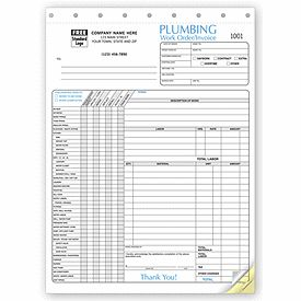 Plumbing Work Order Invoice Horizontal Layout