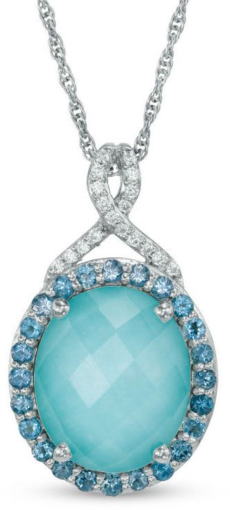 Zales Oval Lab-Created Opal, White Sapphire and London Blue Topaz Pendant in Sterling Silver