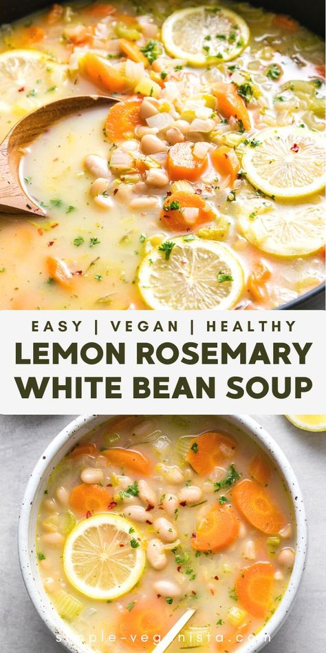 Lemon Rosemary White Bean Soup Veggie Recipes, Whole Food Recipes, Vegetarian Recipes, Cooking Recipes, Healthy Recipes, Easy Healthy Soup Recipes, Healthy Fall Soups, Summer Soup Recipes, Mexican Soup Recipes