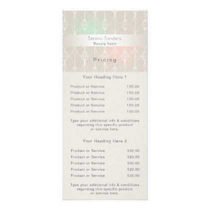Geometric Beauty Salon Price List Ombre Pastels Rack Card