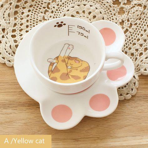 Cute Cat Mug Set