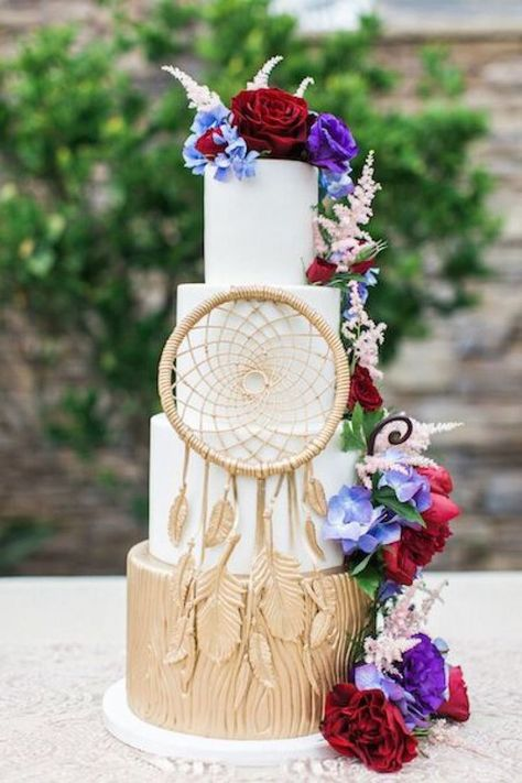 Floral and dream catcher topped wedding cake: Planners: Bliss Productions