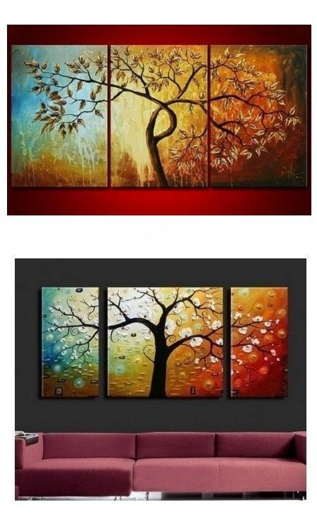 Canvas Painting For Living Room Original Artwork Abstract Painting On Canvas 3 Piece Wall Art Tree Of Life Painting Abstract Wall Art Painting Bedroom Wall Art Painting Living Room Canvas Painting Online painting for living room