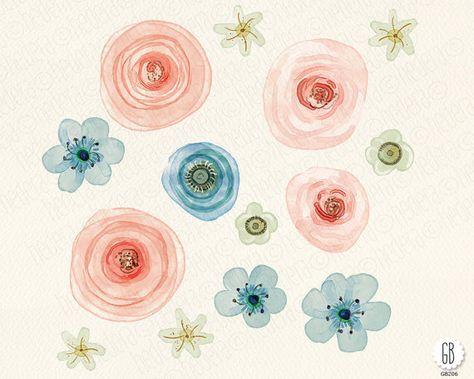 Aquarelle Blumen Hand Bemalte Hahnenfuss Rosen Von Grafikboutique