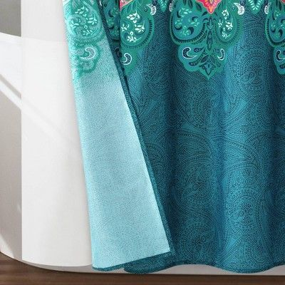 14pc Boho Chic Shower Curtain With Peva Lining And Rings Set Navy
