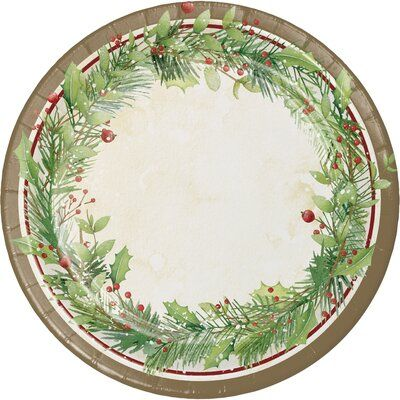 The Holiday Aisle Alonso Wreath Paper Dessert Plate Christmas Paper Plates Winter Wreath Paper Plates