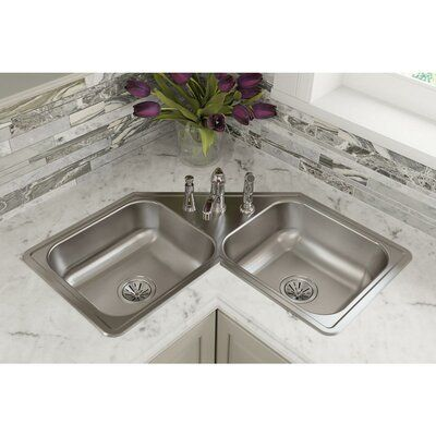 Elkay Dayton 32 L X 32 W Double Basin Drop In Kitchen Sink Corner Sink Kitchen Drop In Kitchen Sink Kitchen Basin Sink