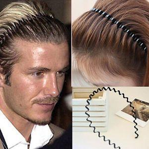 Mens Women Unisex Black Wavy Hair Head Hoop Band Sport Headband Hairband au ^