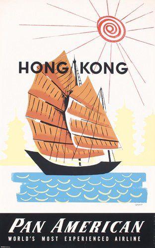 Hong Kong China Chinese Dragon Qantas Travel Advertisement Art Poster