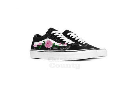 Floral Vans shoes, Vans shoes old skool, old skool rose