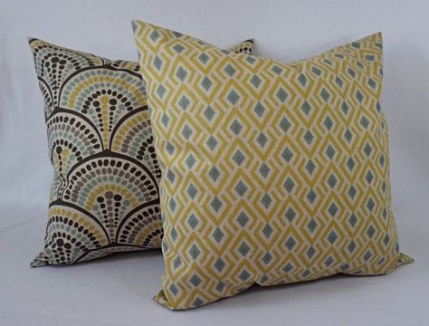 Yellow And Blue Decorative Pillow Covers Two Geometric Throw Classy Yellow And Blue Decorative Pillows