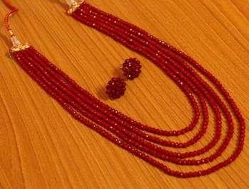 06daca020d35e 5 Line Ruby Color Multi Sting Necklace Set #necklace #necklaceset ...