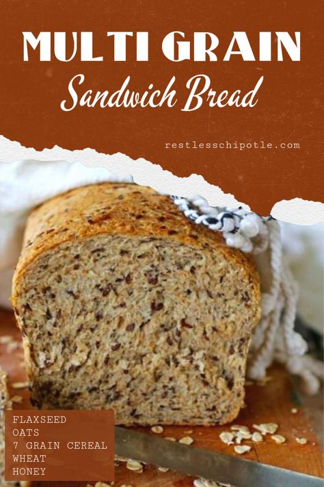 This homemade multi-grain flaxseed bread recipe is deliciously healthy and easy to make. Soft enough for sandwich bread. Multigrain Bread Recipe, Flaxseed Bread, Sourdough Bread, Best Nutrition Food, Best Diet Foods, Nutrition Products, Healthy Food, Proper Nutrition, Fitness Nutrition