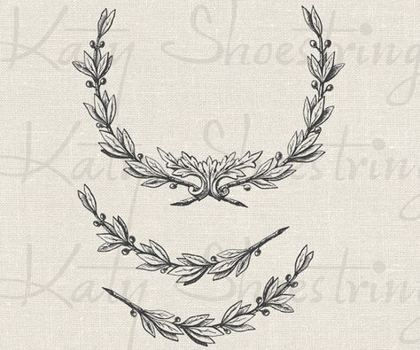 Vintage Wreath and Branch Illustrations Printable Image Digital Collage Sheet Fabric Transfer Weddin
