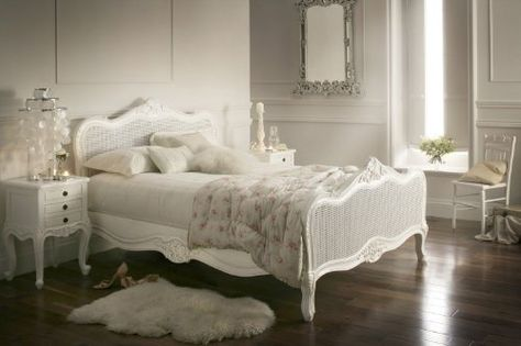 Vintage Provence French Style Rattan Antique White King Size Bed