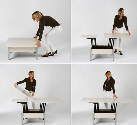 Height Adjustable Coffee Table Expandable Into Dining Table