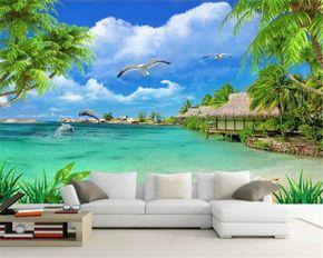 Cheap Beibehang Moderno Hogar Tv Fondo Pintado Pared Hd Vista Al Mar Playa Paisaje Pintura De Mural De Playa Papel Tapiz Para Salas Papel Pintado Para Paredes