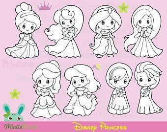 Snow Princess Black And White Digital Clip Art Set Personal Etsy Disney Princess Coloring Pages Princess Coloring Pages Disney Princess Colors