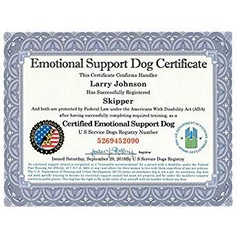Emotional Support Dog Certificate Fully Customized With
