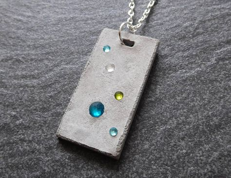 Your place to buy and sell all things handmade - Rhinestone jewelry turquoise necklace concrete modern -