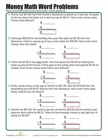 Math Money Word Problems Escuela - subtracting money worksheet