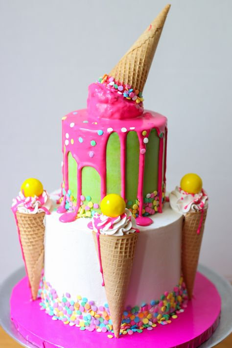 Venus Medler of Venus's Cakes shares a super-easy tutorial for a fun and playful ice cream cone drip cake. This cake positively screams Happy Birthday; perfect for little kids and big kids alike. Components: Sharp knife 8-inch cake drum 4 bubba straws 6-inch cake iced 4-inch cake iced with green buttercream 10.5 oz. white chocolate …